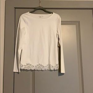 NWT lace trim long sleeve